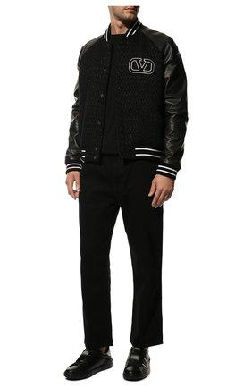 Мужские кожаные кеды open VALENTINO черного цвета, арт. VY2S0830/XZU   Фото 2 (Подошва: Массивная; Материал внутренний: Натуральная кожа)
