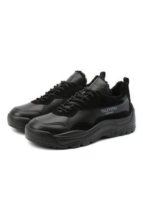 Мужские кожаные кроссовки gumboy valentino garavani VALENTINO черного цвета, арт. VY2S0B17/QSM | Фото 1