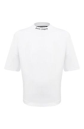Мужская хлопковая футболка PALM ANGELS белого цвета, арт. PMAA002R21JER0010110 | Фото 1 (Длина (для топов): Стандартные; Материал внешний: Хлопок; Рукава: Короткие; Принт: С принтом; Стили: Гранж)