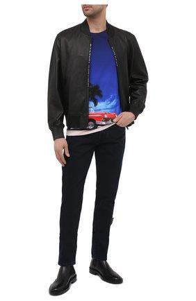 Мужская хлопковая футболка BALMAIN разноцветного цвета, арт. VH1EF000/G003 | Фото 2 (Длина (для топов): Стандартные; Стили: Кэжуэл; Материал внешний: Хлопок; Принт: С принтом; Рукава: Короткие)