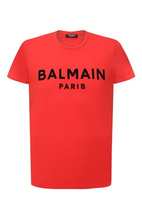 Мужская хлопковая футболка  BALMAIN красного цвета, арт. VH1EF000/B043 | Фото 1