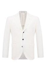Мужской льняной пиджак BRUNELLO CUCINELLI белого цвета, арт. MW4317BND | Фото 1