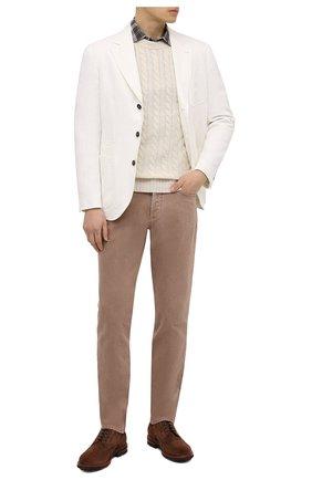 Мужской льняной пиджак BRUNELLO CUCINELLI белого цвета, арт. MW4317BND | Фото 2