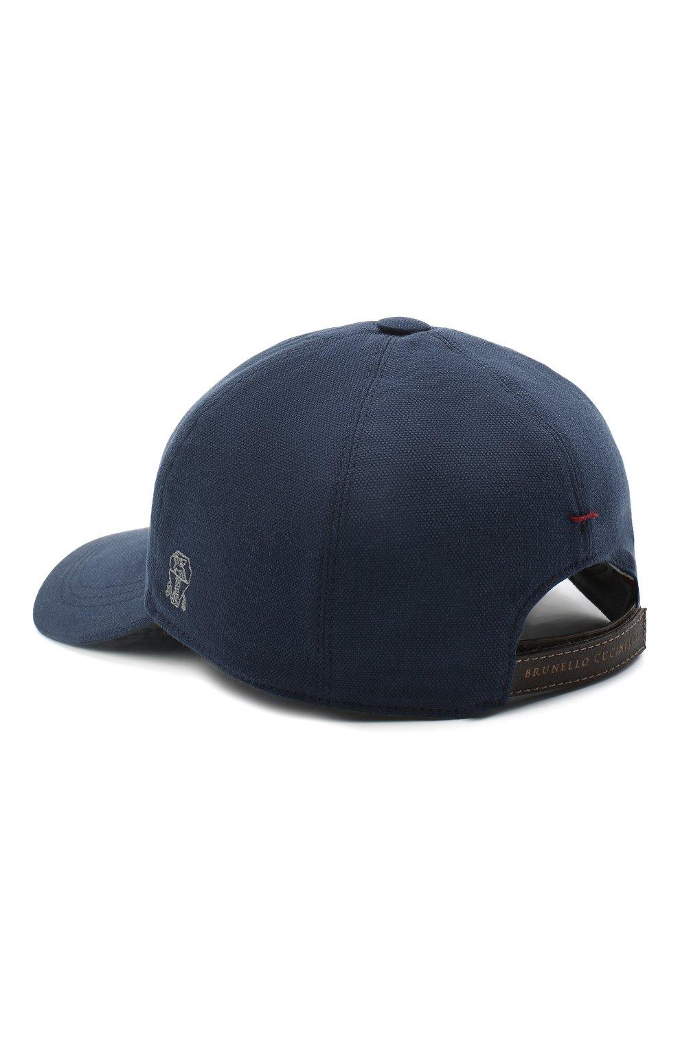 Мужской хлопковая бейсболка BRUNELLO CUCINELLI синего цвета, арт. M261D9978 | Фото 2
