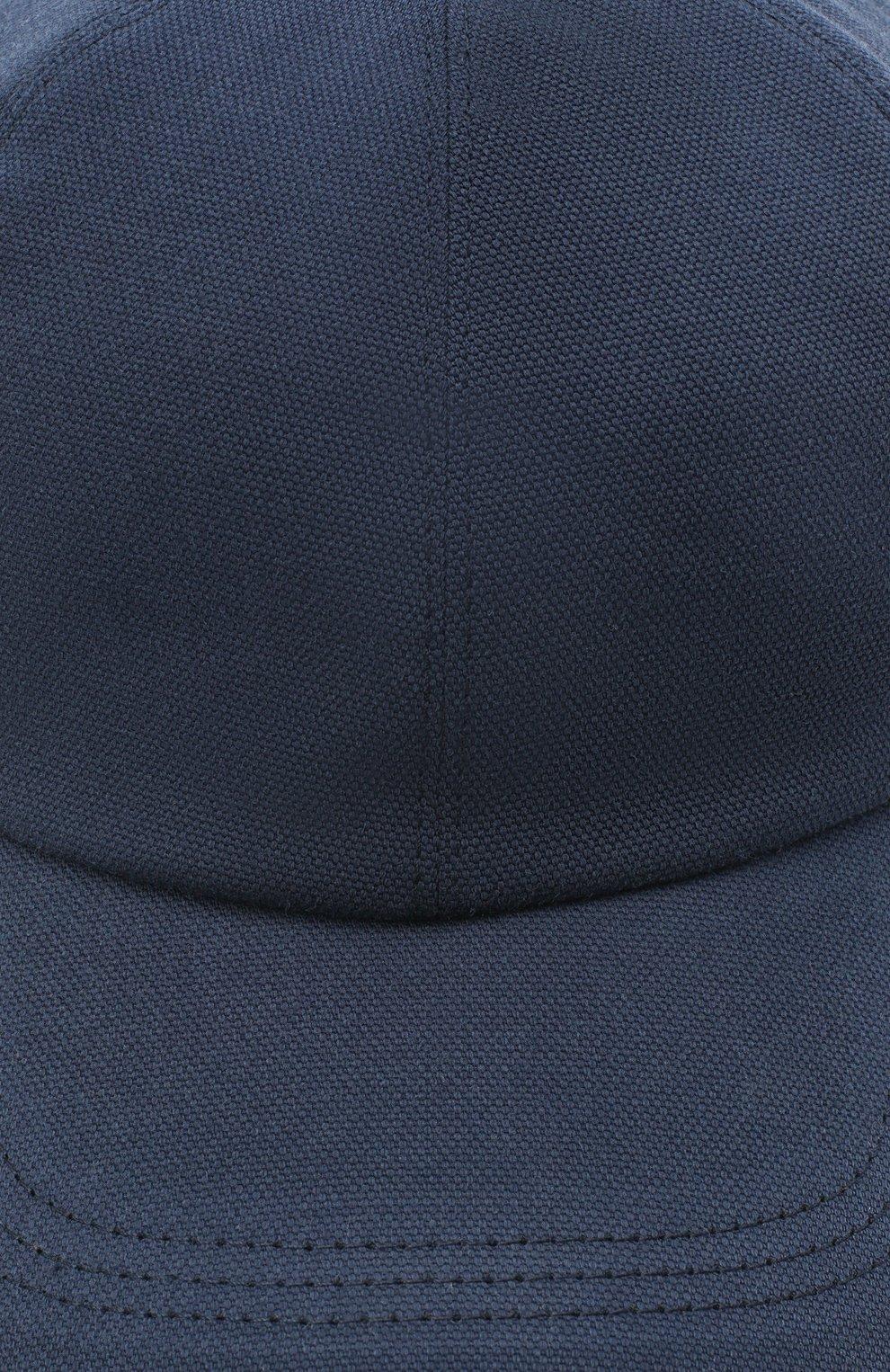 Мужской хлопковая бейсболка BRUNELLO CUCINELLI синего цвета, арт. M261D9978 | Фото 3