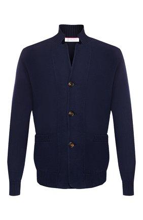 Мужской хлопковый кардиган BRUNELLO CUCINELLI синего цвета, арт. M2872711 | Фото 1 (Длина (для топов): Стандартные; Материал внешний: Хлопок; Рукава: Длинные; Мужское Кросс-КТ: Кардиган-одежда; Стили: Кэжуэл)
