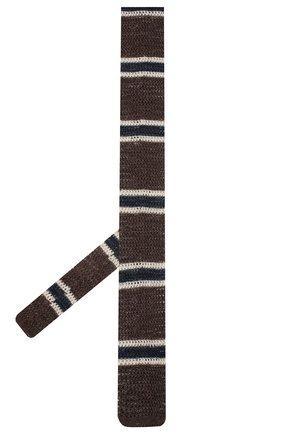 Мужской галстук из хлопка и льна BRUNELLO CUCINELLI коричневого цвета, арт. MQ8810018   Фото 2