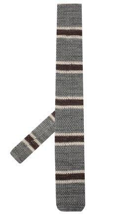 Мужской галстук из хлопка и льна BRUNELLO CUCINELLI серого цвета, арт. MQ8810018 | Фото 2
