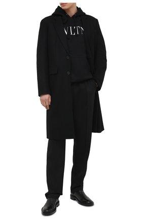 Мужской хлопковое худи VALENTINO черного цвета, арт. VV3MF14F3TV   Фото 2