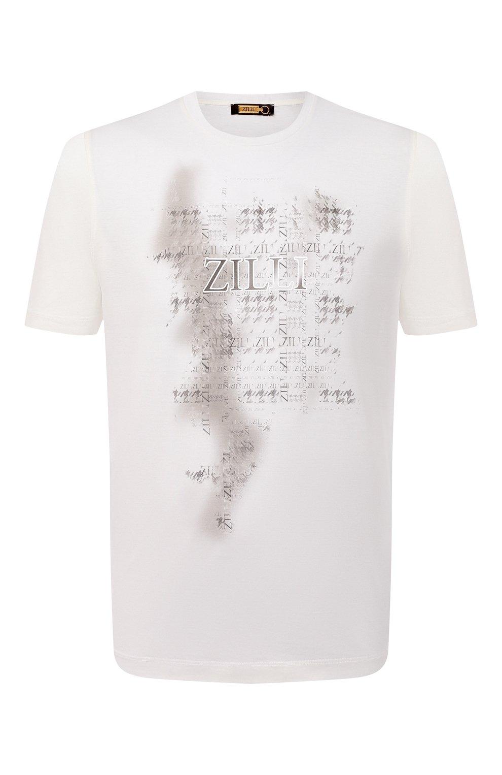 Мужская хлопковая футболка ZILLI белого цвета, арт. MBU-NT300-PIED1/MC01 | Фото 1