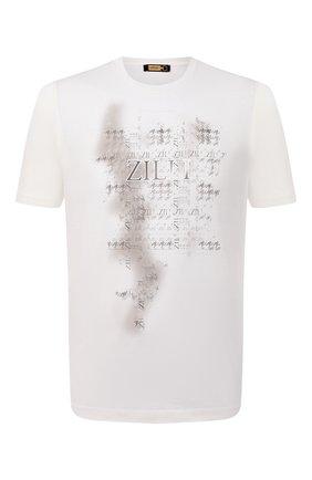 Мужская хлопковая футболка ZILLI белого цвета, арт. MBU-NT300-PIED1/MC01 | Фото 1 (Материал внешний: Хлопок; Стили: Кэжуэл; Длина (для топов): Стандартные; Рукава: Короткие)