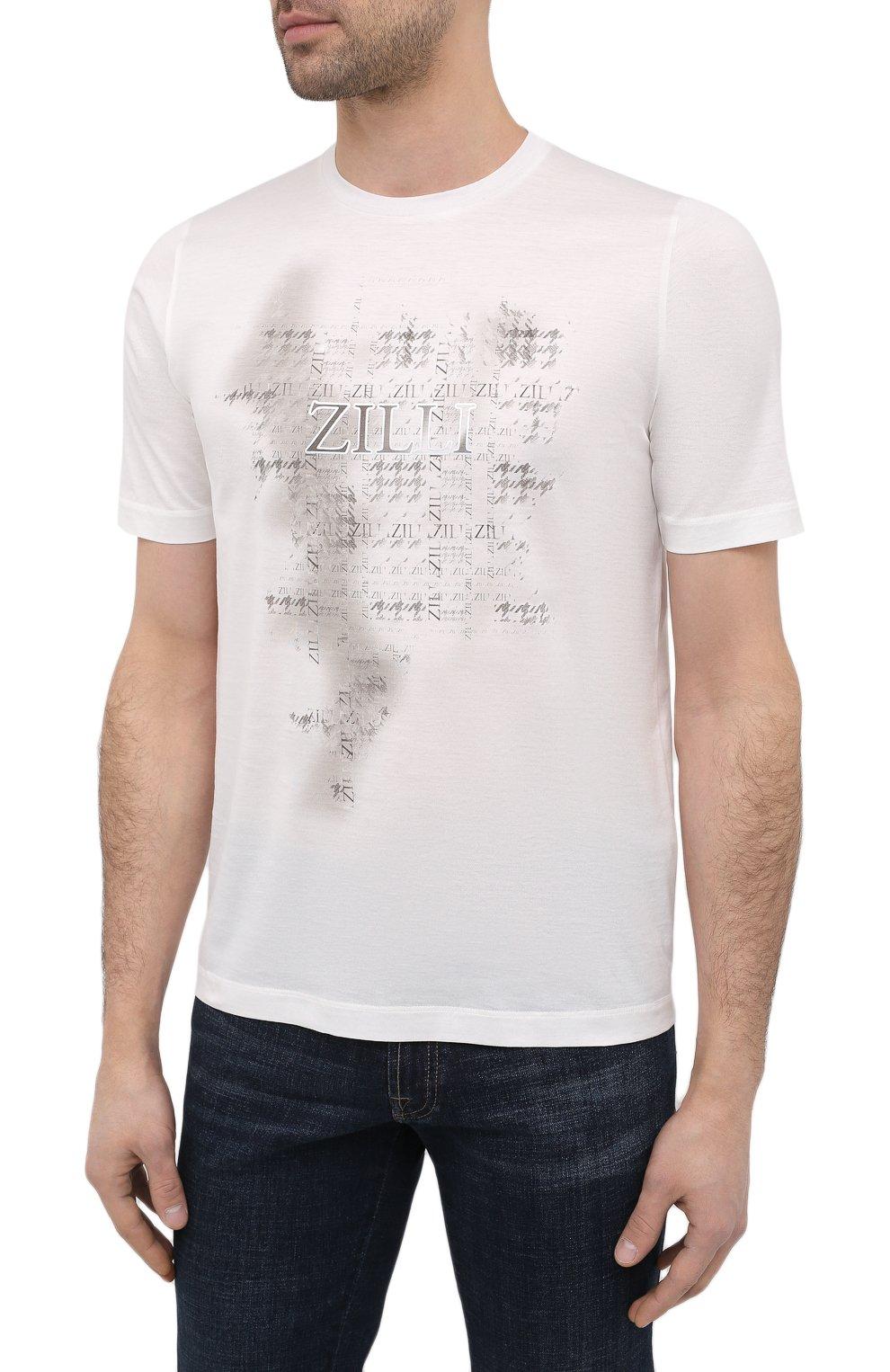 Мужская хлопковая футболка ZILLI белого цвета, арт. MBU-NT300-PIED1/MC01 | Фото 3