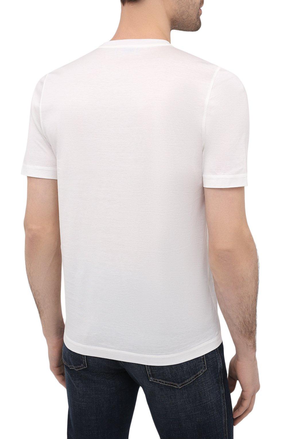 Мужская хлопковая футболка ZILLI белого цвета, арт. MBU-NT300-PIED1/MC01 | Фото 4
