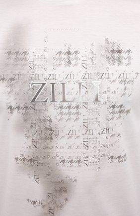 Мужская хлопковая футболка ZILLI белого цвета, арт. MBU-NT300-PIED1/MC01 | Фото 5