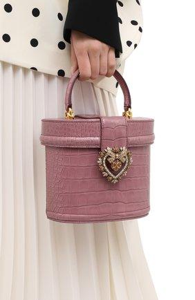 Женская сумка devotion из кожи аллигатора DOLCE & GABBANA темно-розового цвета, арт. BB6800/B2DE5/AMIS   Фото 2 (Размер: mini; Ремень/цепочка: На ремешке; Сумки-технические: Сумки через плечо, Сумки top-handle)