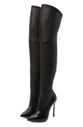 Женские кожаные ботфорты blade CASADEI черного цвета, арт. 1T000D125HHNAGU9000 | Фото 1