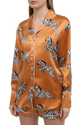 Женская шелковая пижама OLIVIA VON HALLE оранжевого цвета, арт. PS2121 | Фото 2