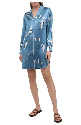 Женская шелковая сорочка OLIVIA VON HALLE голубого цвета, арт. PS2134 | Фото 2