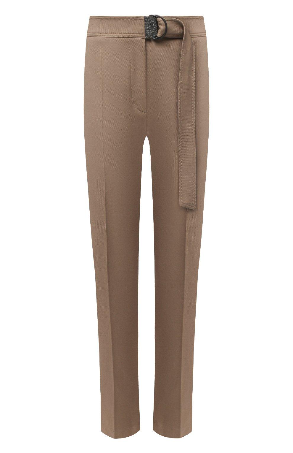 Женские хлопковые брюки BRUNELLO CUCINELLI темно-бежевого цвета, арт. MA126P7227 | Фото 1