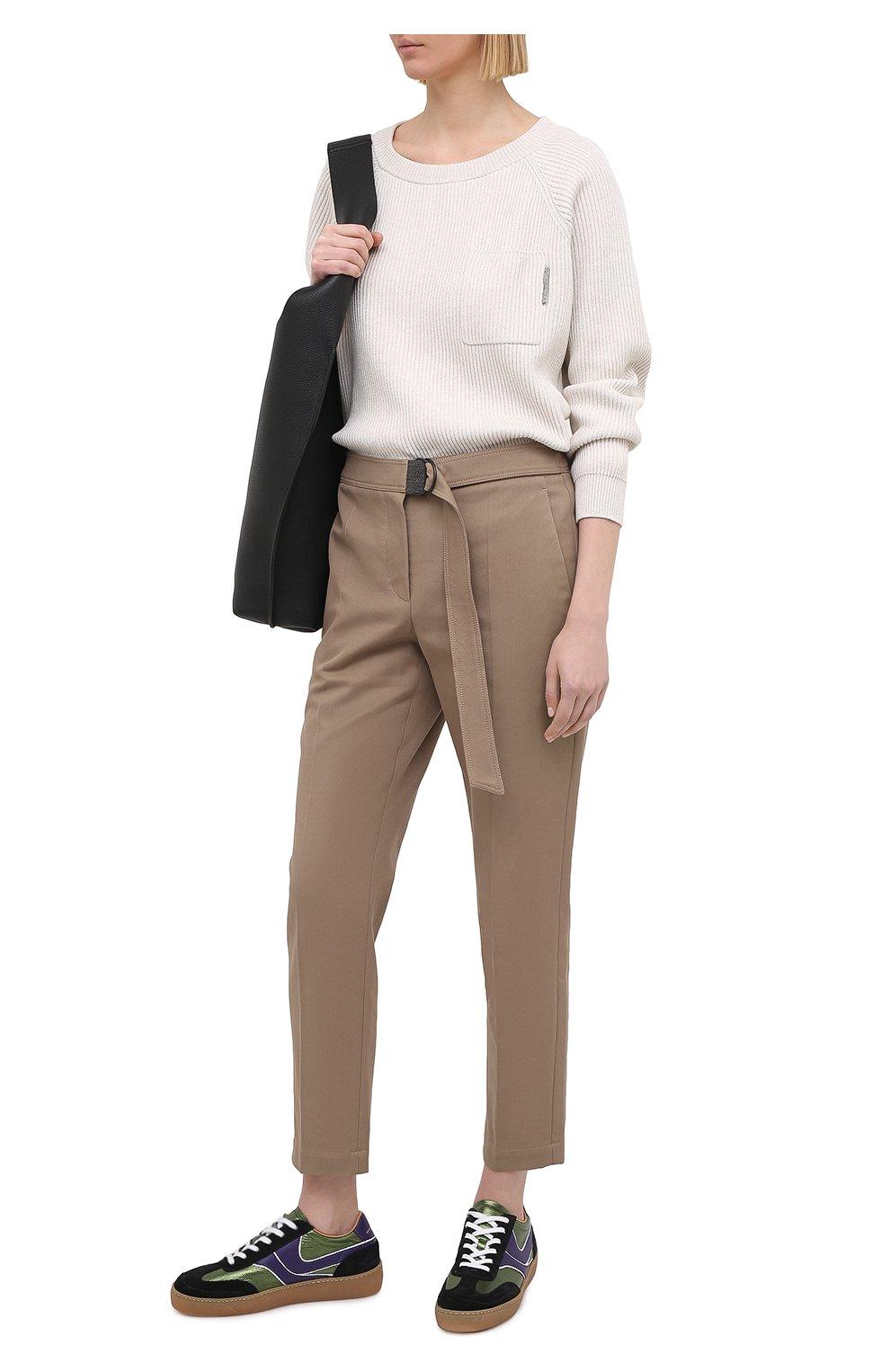 Женские хлопковые брюки BRUNELLO CUCINELLI темно-бежевого цвета, арт. MA126P7227 | Фото 2