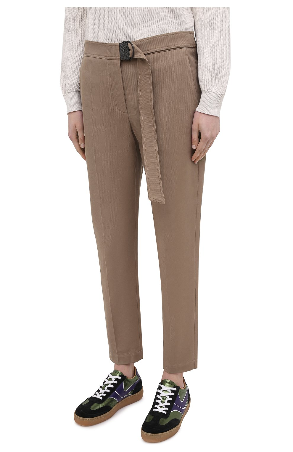Женские хлопковые брюки BRUNELLO CUCINELLI темно-бежевого цвета, арт. MA126P7227 | Фото 3