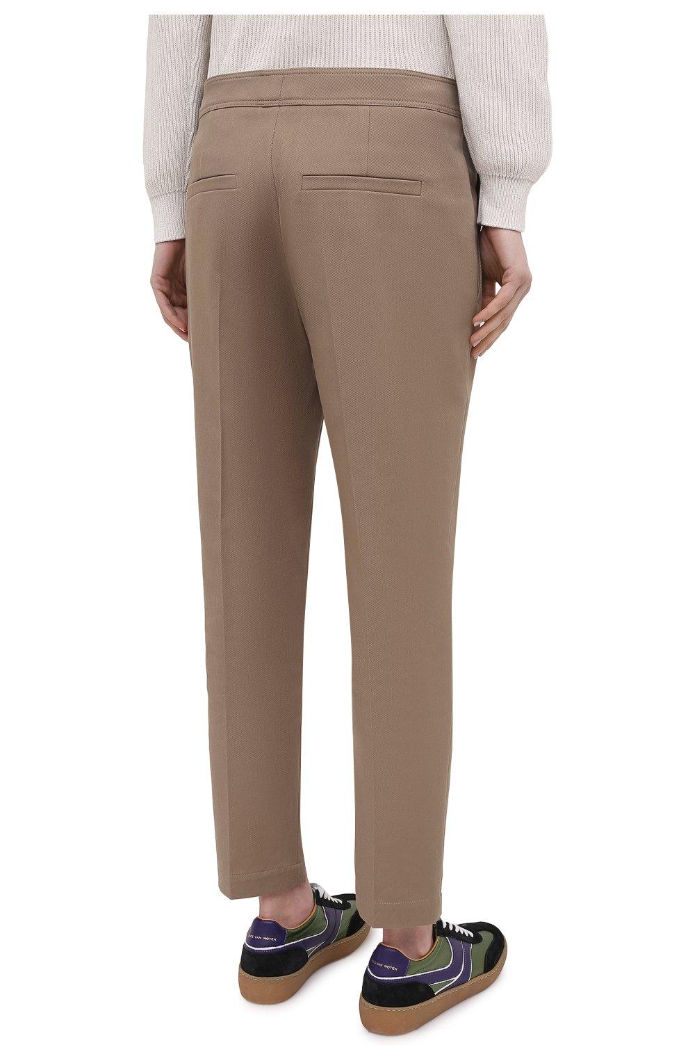 Женские хлопковые брюки BRUNELLO CUCINELLI темно-бежевого цвета, арт. MA126P7227 | Фото 4