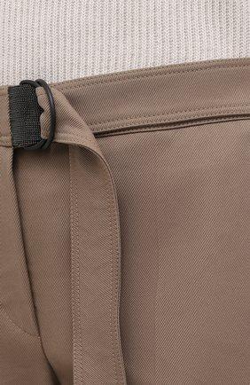 Женские хлопковые брюки BRUNELLO CUCINELLI темно-бежевого цвета, арт. MA126P7227 | Фото 5
