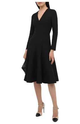 Женское платье из шерсти и шелка VALENTINO черного цвета, арт. VB3VAUJ51CF   Фото 2 (Стили: Романтичный; Материал внешний: Шелк, Шерсть; Длина Ж (юбки, платья, шорты): Миди; Рукава: Длинные; Женское Кросс-КТ: Платье-одежда, платье-футляр; Материал подклада: Вискоза; Случай: Формальный)