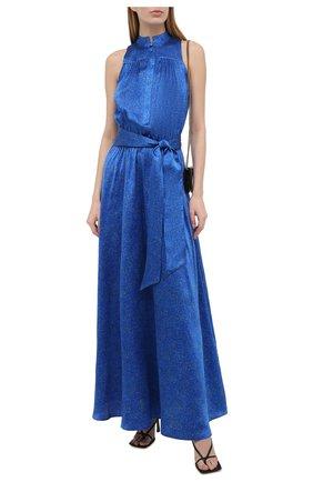 Женское шелковое платье KITON синего цвета, арт. D51326K09T58 | Фото 2