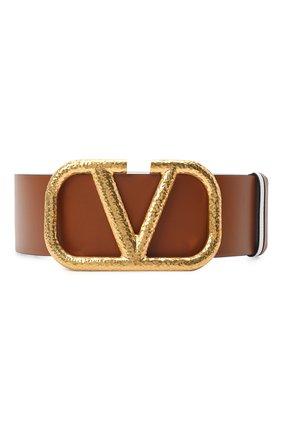 Женский кожаный ремень  VALENTINO коричневого цвета, арт. VW2T0S10/TAL | Фото 1 (Материал: Кожа)