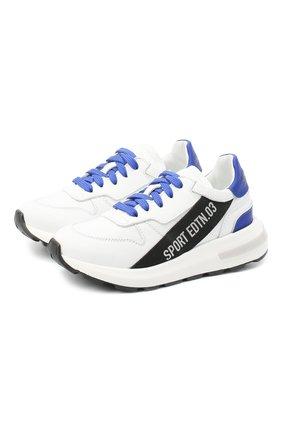 Детские кожаные кроссовки DSQUARED2 белого цвета, арт. 66934/KIPS/GUM/28-35 | Фото 1