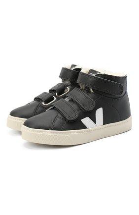 Детские высокие кожаные кеды VEJA черно-белого цвета, арт. RMV062035/28-35   Фото 1 (Материал утеплителя: Натуральный мех; Кросс-КТ: велькро)