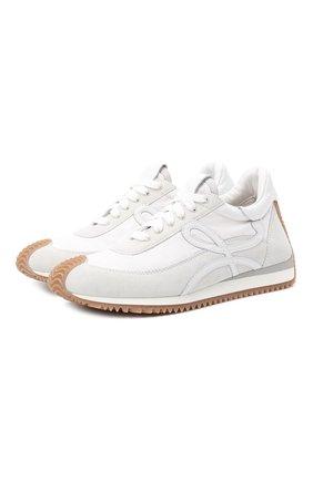Женские комбинированные кроссовки LOEWE белого цвета, арт. L815282X35 | Фото 1