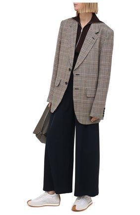 Женские комбинированные кроссовки LOEWE белого цвета, арт. L815282X35 | Фото 2 (Материал внутренний: Натуральная кожа, Текстиль; Подошва: Платформа; Материал внешний: Текстиль)