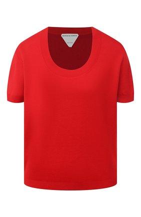Женская футболка BOTTEGA VENETA красного цвета, арт. 647549/V0A50   Фото 1 (Материал внешний: Хлопок, Кашемир, Шерсть; Стили: Кэжуэл; Рукава: Короткие; Длина (для топов): Стандартные; Принт: Без принта; Женское Кросс-КТ: Футболка-одежда)