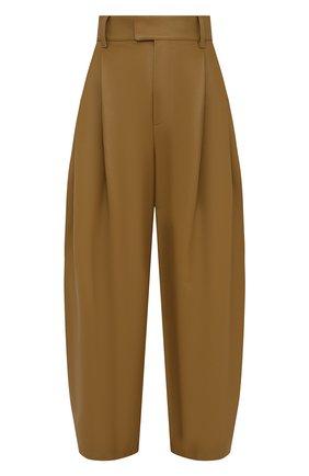 Женские кожаные брюки BOTTEGA VENETA зеленого цвета, арт. 649280/VKV90 | Фото 1