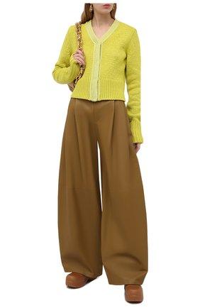 Женские кожаные брюки BOTTEGA VENETA зеленого цвета, арт. 649280/VKV90 | Фото 2