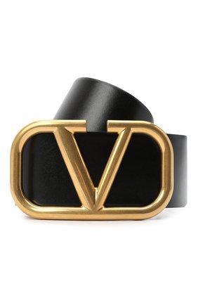 Женский кожаный ремень  VALENTINO черного цвета, арт. VW2T0S10/ZFR | Фото 1 (Материал: Кожа)