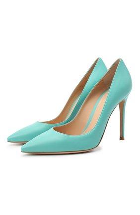 Женские кожаные туфли gianvito 105 GIANVITO ROSSI бирюзового цвета, арт. G28470.15RIC.NAPMALE | Фото 1