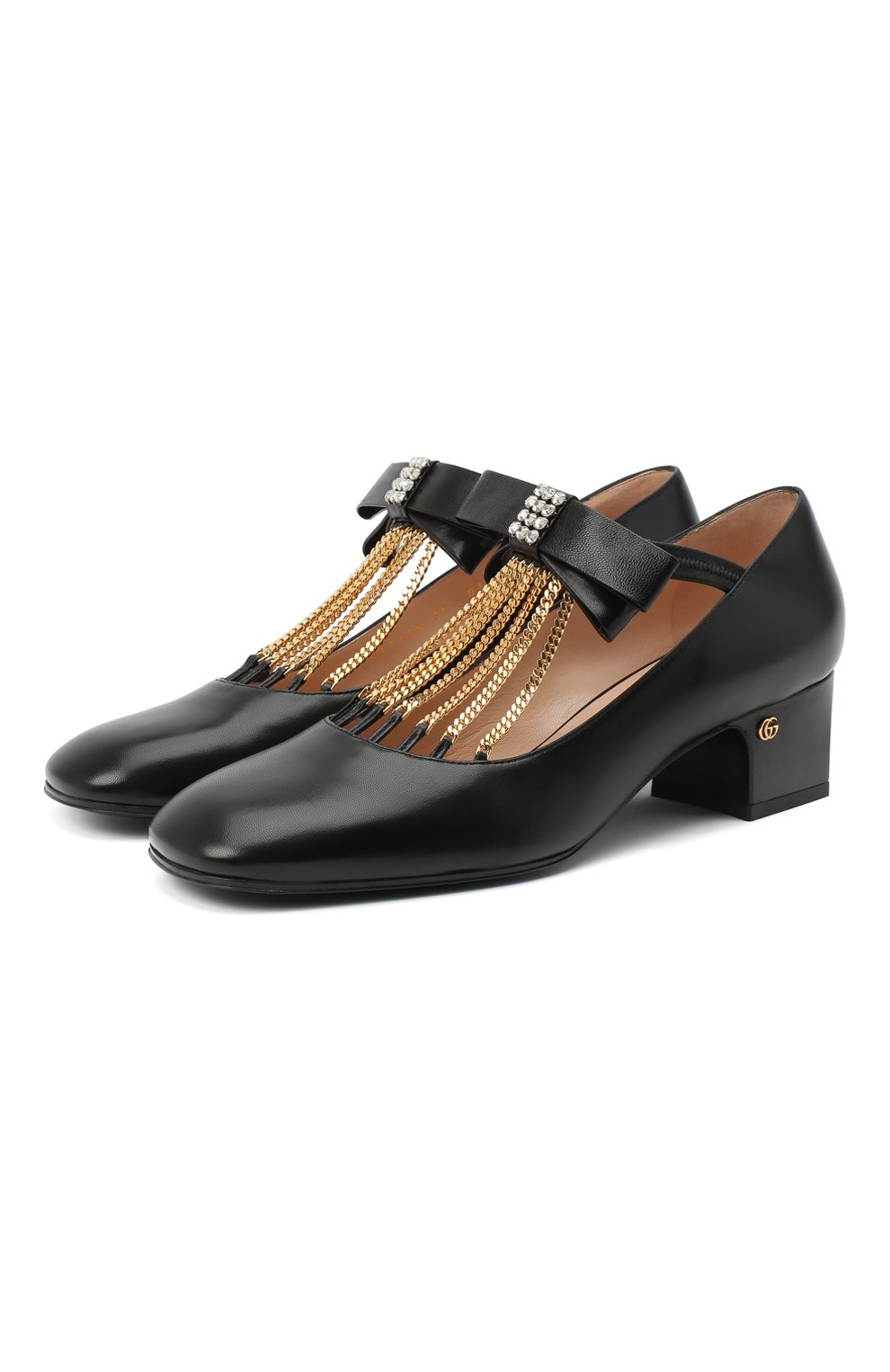 Женские кожаные туфли GUCCI черного цвета, арт. 637134/DMBT0   Фото 1 (Материал внешний: Кожа; Материал внутренний: Натуральная кожа; Каблук высота: Средний; Каблук тип: Устойчивый; Подошва: Плоская)