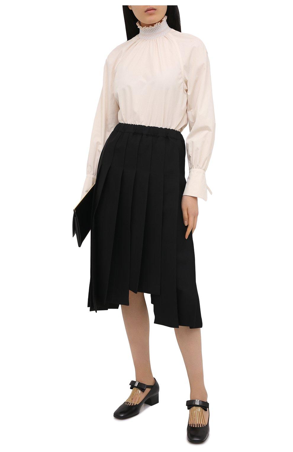 Женские кожаные туфли GUCCI черного цвета, арт. 637134/DMBT0   Фото 2 (Материал внешний: Кожа; Материал внутренний: Натуральная кожа; Каблук высота: Средний; Каблук тип: Устойчивый; Подошва: Плоская)