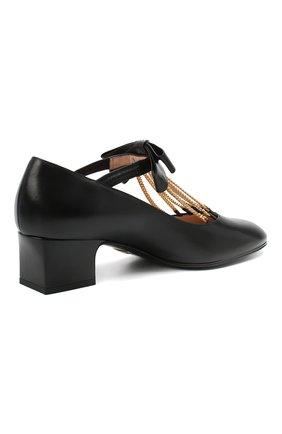 Женские кожаные туфли GUCCI черного цвета, арт. 637134/DMBT0   Фото 4 (Материал внешний: Кожа; Материал внутренний: Натуральная кожа; Каблук высота: Средний; Каблук тип: Устойчивый; Подошва: Плоская)