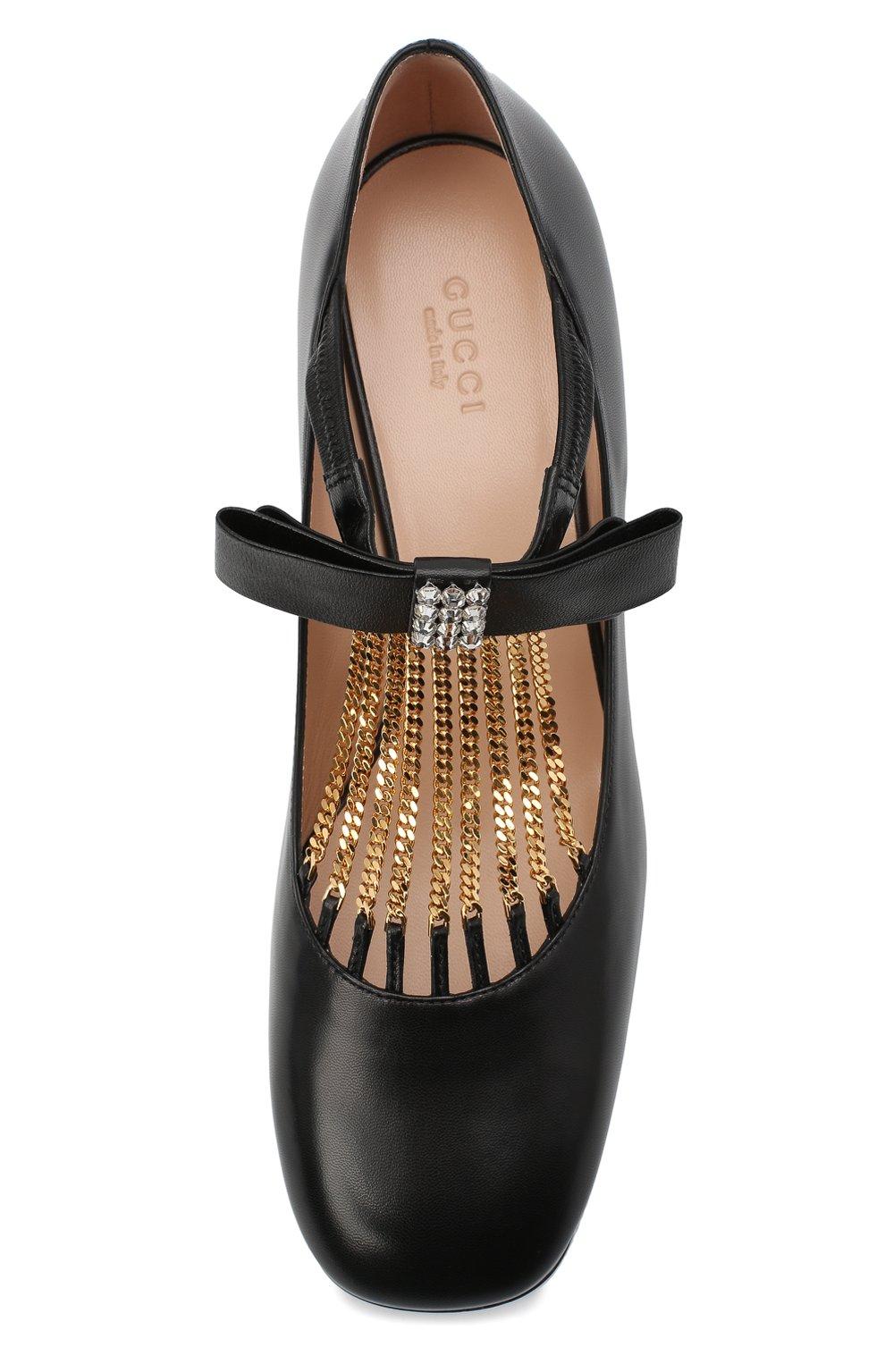Женские кожаные туфли GUCCI черного цвета, арт. 637134/DMBT0   Фото 5 (Материал внешний: Кожа; Материал внутренний: Натуральная кожа; Каблук высота: Средний; Каблук тип: Устойчивый; Подошва: Плоская)