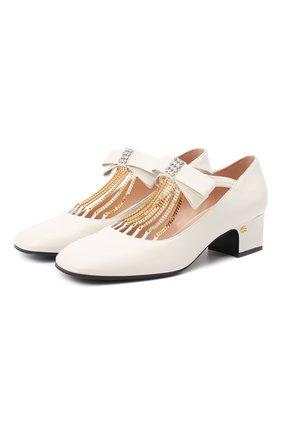 Женские кожаные туфли GUCCI белого цвета, арт. 637134/DMBT0   Фото 1