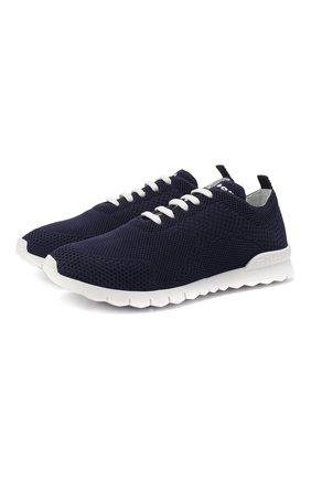 Женские текстильные кроссовки KITON темно-синего цвета, арт. DSSFITSN00809 | Фото 1