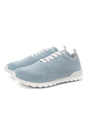 Женские текстильные кроссовки KITON голубого цвета, арт. DSSFITSN00817 | Фото 1 (Подошва: Платформа; Материал внешний: Текстиль; Материал внутренний: Натуральная кожа)