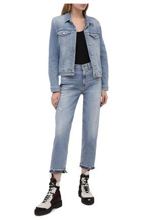 Женская джинсовая куртка 7 FOR ALL MANKIND голубого цвета, арт. JSCM1200LS | Фото 2