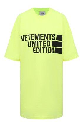 Женская хлопковая футболка VETEMENTS желтого цвета, арт. UE51TR810Y 1611/W | Фото 1