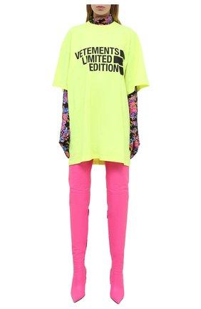 Женская хлопковая футболка VETEMENTS желтого цвета, арт. UE51TR810Y 1611/W | Фото 2