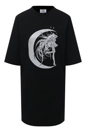 Женская хлопковая футболка VETEMENTS черного цвета, арт. UE51TR740B 1611/W | Фото 1